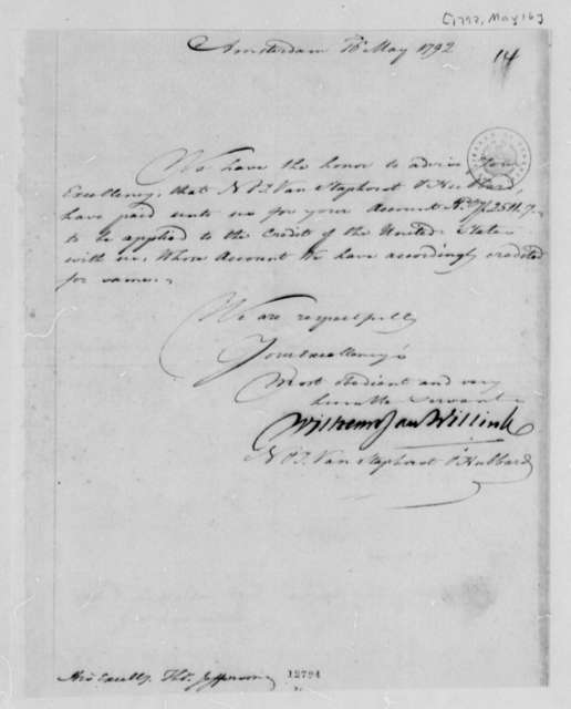 Wilhelm Willink, et al to Thomas Jefferson, May 16, 1792