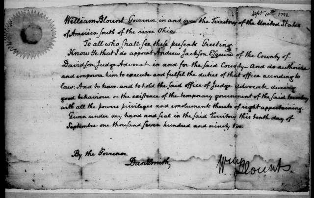William Blount to Andrew Jackson, September 10, 1792