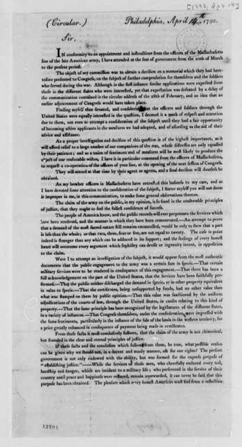 William Hull to Thomas Jefferson, April 14, 1792, Printed Circular