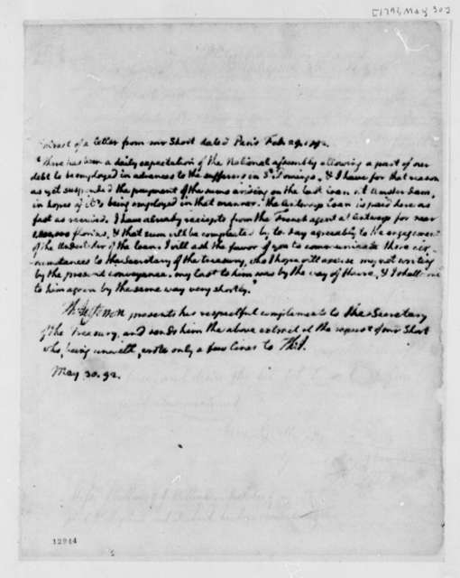 William Short to Thomas Jefferson, May 30, 1792, Extract