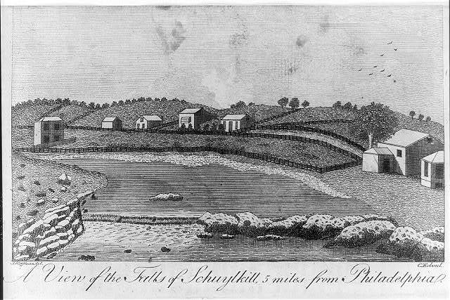 A view of the falls of Schuylkill, 5 miles from Philadelphia / J. Hoffman del. ; C. Tiebout.