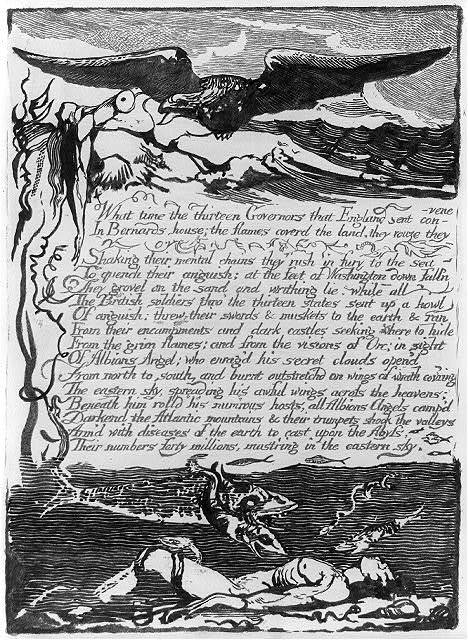 """[Above, an eagle preys on the body of a woman cast up on the seashore. Below, under the waves is a drowned man on whom fishes feed. Between text: """"What time the 13 governors...""""]"""