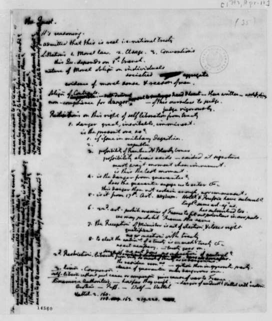 Alexander Hamilton, April 18, 1793, Hamilton's Thoughts on Foreign Affairs, in Thomas Jefferson's Hand
