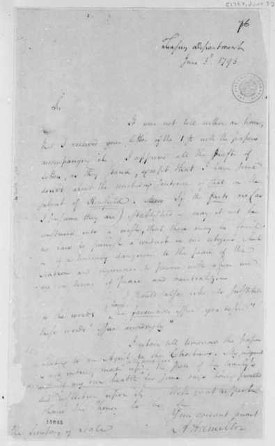 Alexander Hamilton to Thomas Jefferson, June 3, 1793