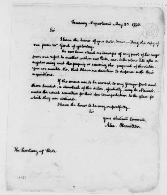 Alexander Hamilton to Thomas Jefferson, May 23, 1793