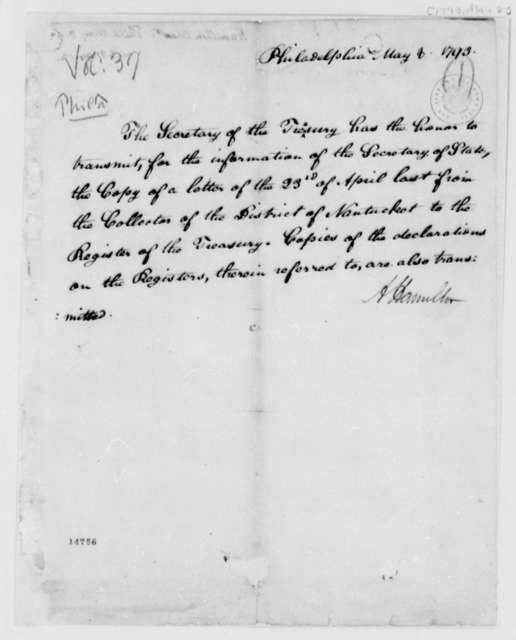 Alexander Hamilton to Thomas Jefferson, May 8, 1793