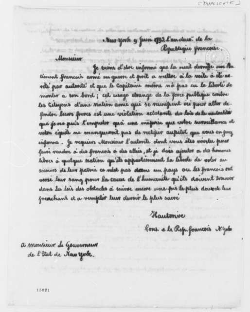 Alexandre Hauterive to George Clinton, June 9, 1793, in French