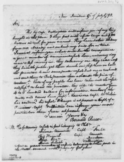 Bernard Raser to Thomas Jefferson, July 9, 1793