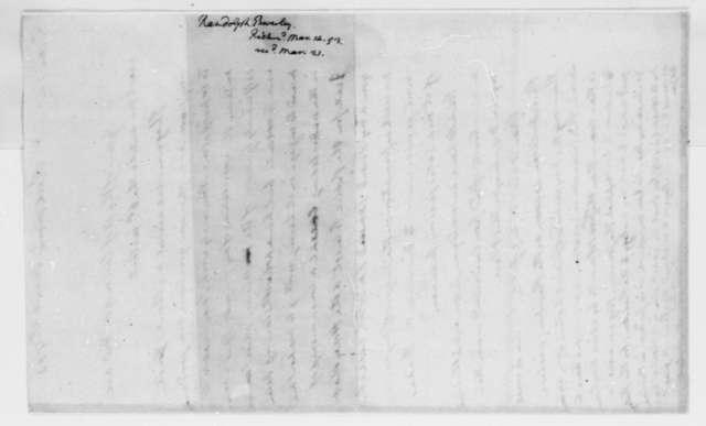 Beverley Randolph to Thomas Jefferson, March 14, 1793