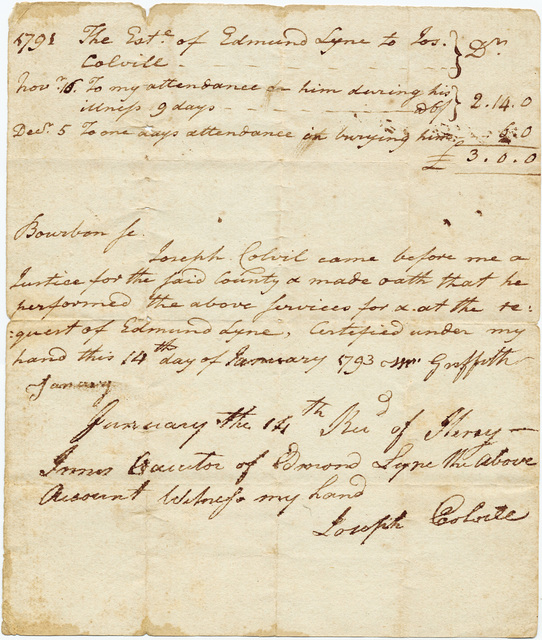 Bill from Joseph Colvill to the estate of Edmund Lyne with receipt