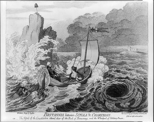 Britannia between Scylla & Charybdis. or - The vessel of the Constitution steered clear of the Rock of Democracy, and the Whirlpool of Arbitrary-Power / Js. Gy. desn. et fect. pro bono publico.