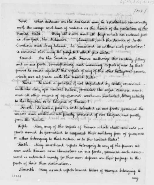 Cabinet, July 18, 1793, Questions on Ports and Neutrality, with Copies