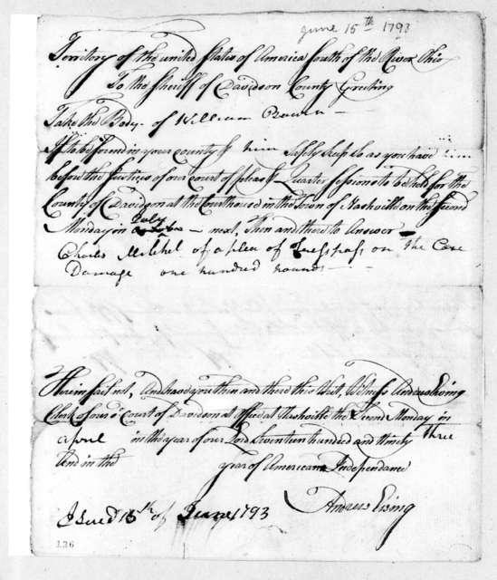 Charles Michel to Davidson County Sheriff, June 15, 1793