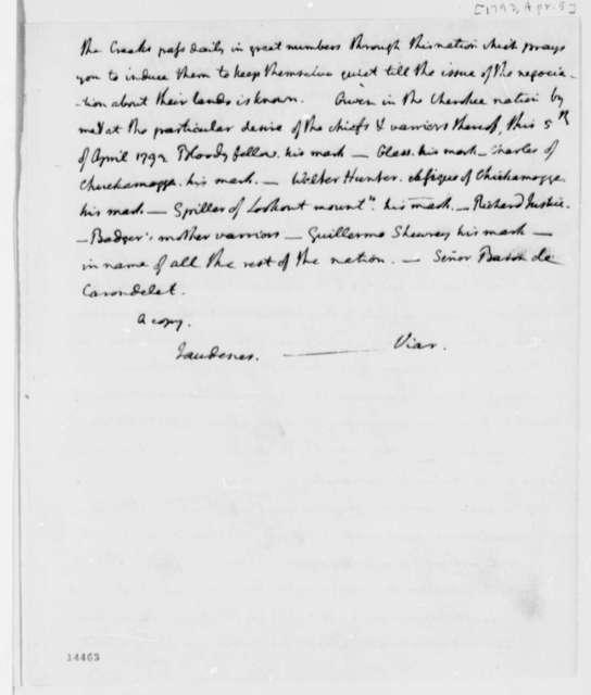 Cherokee Nation to Baron de Carondelet, April 5, 1793, with Translation