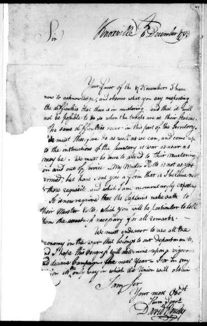 David Hanley to Robert Hays, December 6, 1793