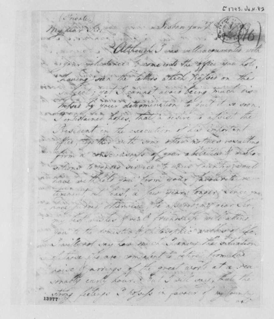 David Humphreys to Thomas Jefferson, January 8, 1793
