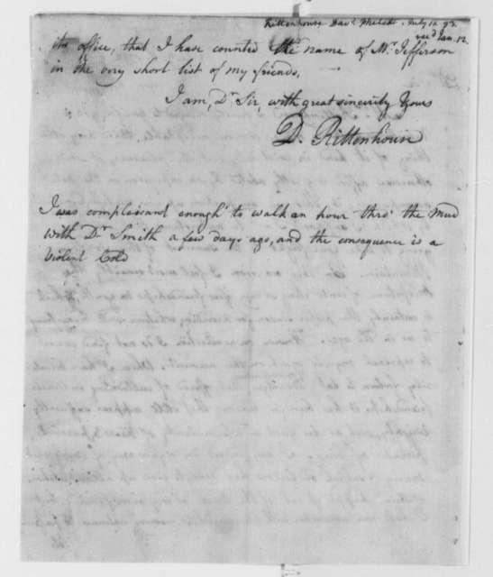 David Rittenhouse to Thomas Jefferson, January 11, 1793