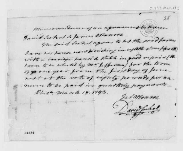 David Seckert and James Monroe, March 18, 1793, Memorandum of an Agreement