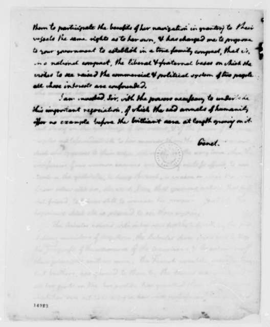 Edmond C. Genet to Thomas Jefferson, May 23, 1793