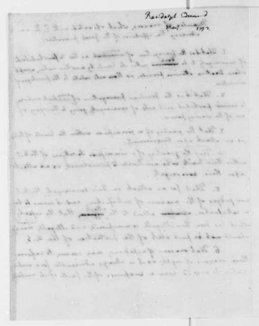 Edmund Randolph, May 1793, Minutes on Expulsion of Genet Privateer