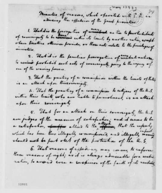 Edmund Randolph, May 1793, Minutes on Expulsion of Genet Privateer