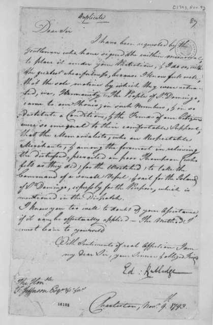 Edward Rutledge to Thomas Jefferson, November 9, 1793