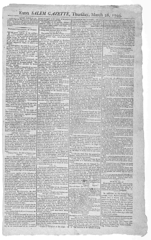 Extra Salem Gazette, Thursday, March 28, 1793. Salem. 1793.