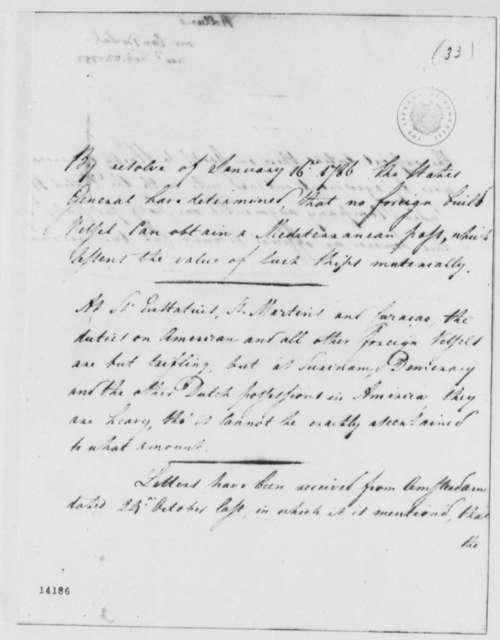 Franco Petrus van Berckel to Thomas Jefferson, February 22, 1793