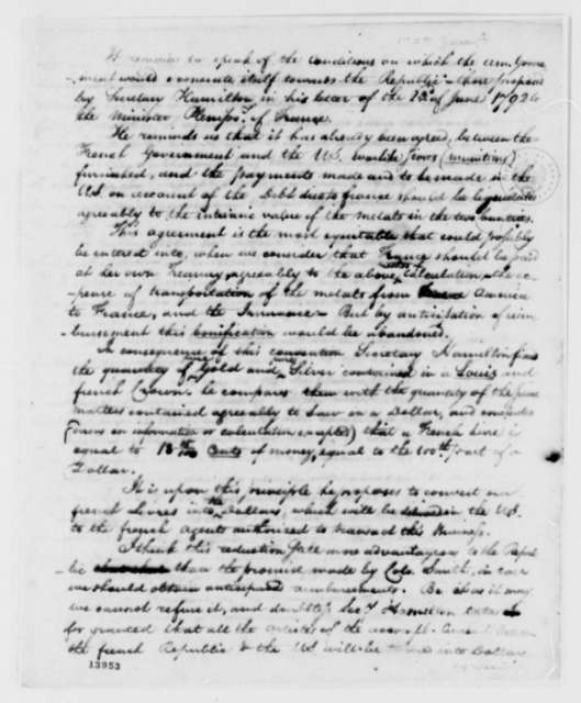 French Minister of Public Contributions, January 4, 1793, Report in French with Translation on U.S. Debt
