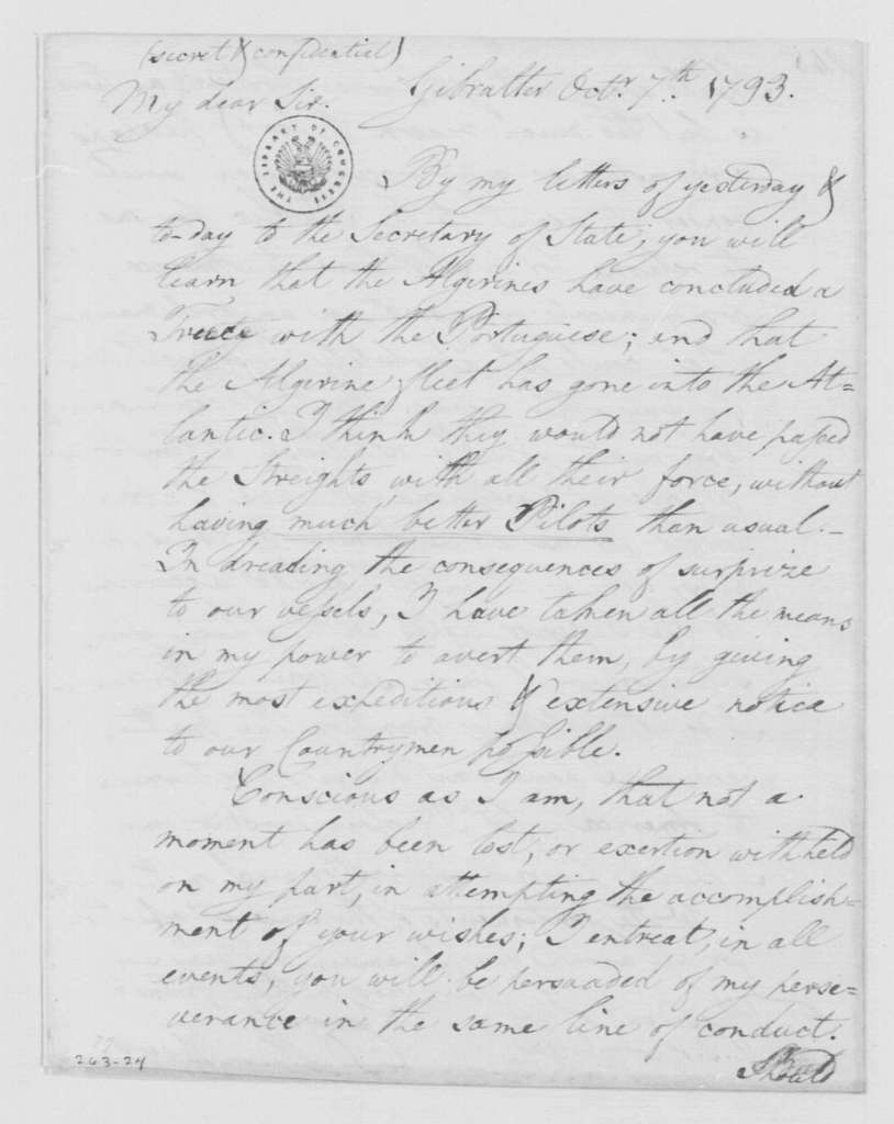 George Washington Papers, Series 4, General Correspondence: David Humphreys to George Washington, October 7, 1793