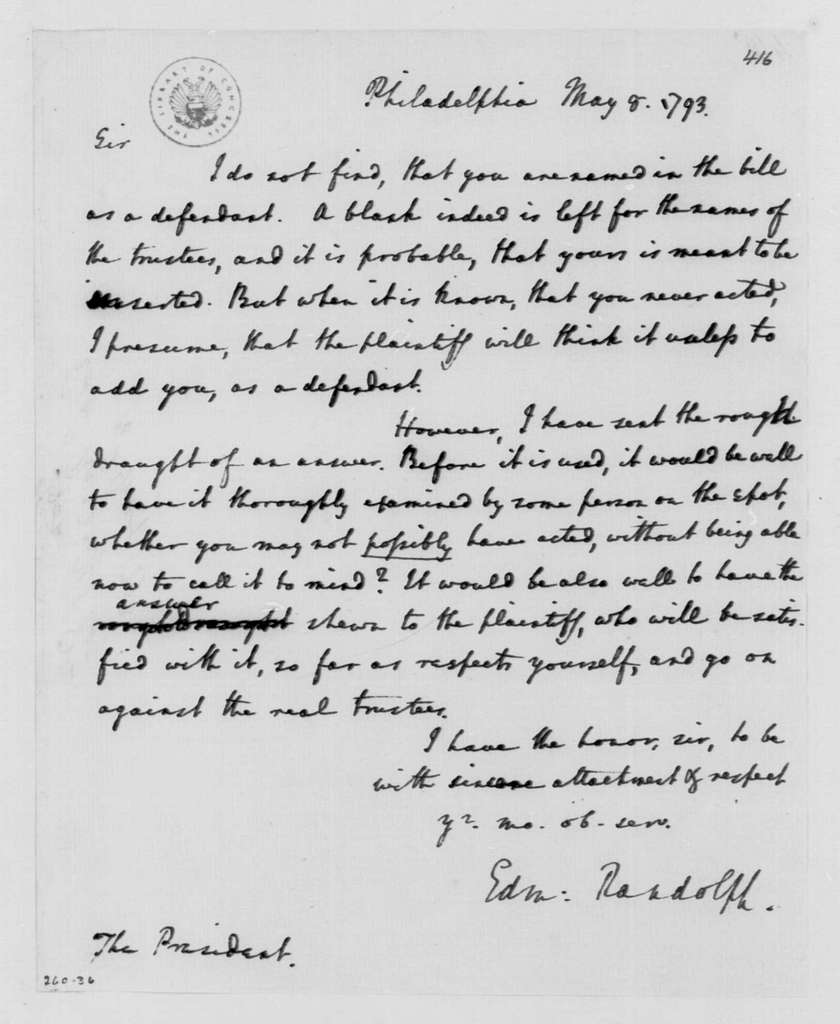 George Washington Papers, Series 4, General Correspondence: Edmund Randolph to George Washington, May 8, 1793