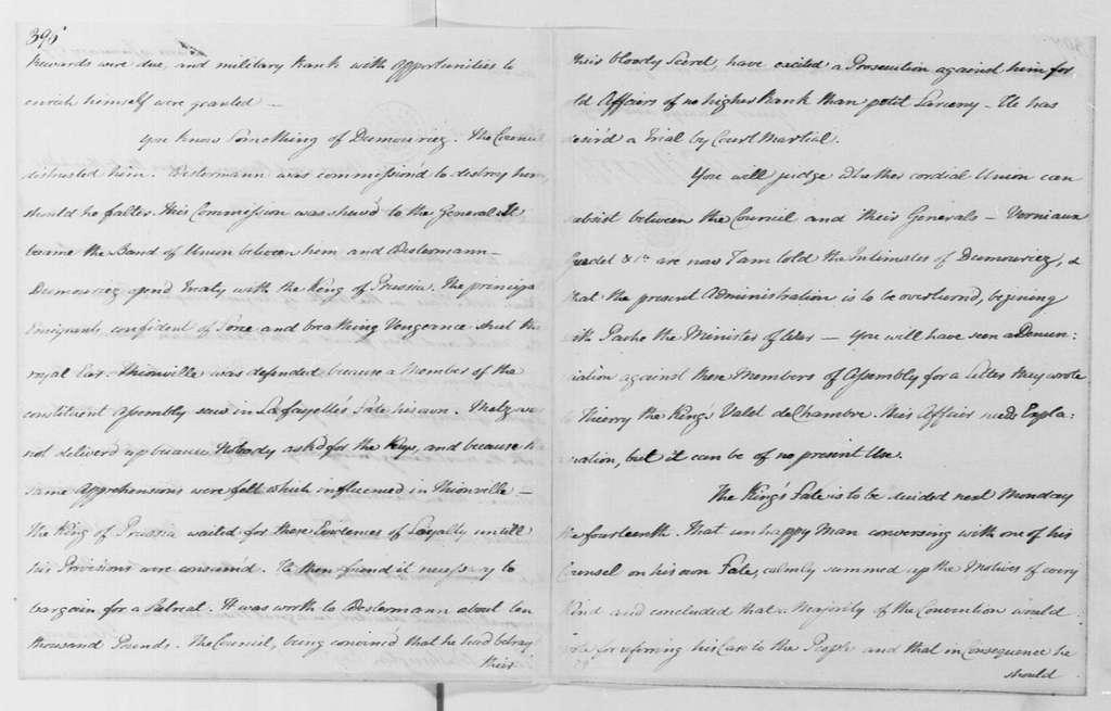 George Washington Papers, Series 4, General Correspondence: Gouverneur Morris to George Washington, January 10, 1793