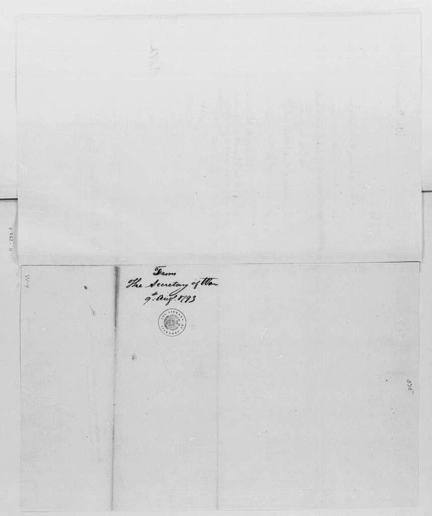 George Washington Papers, Series 4, General Correspondence: Henry Knox to George Washington, August 9, 1793