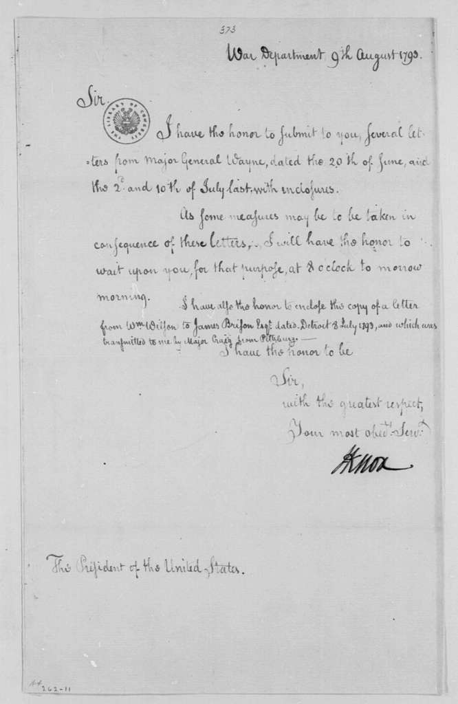 George Washington Papers, Series 4, General Correspondence: Henry Knox to George Washington, August 9, 1793