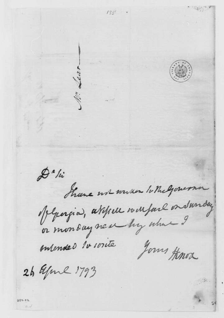 George Washington Papers, Series 4, General Correspondence: Henry Knox to Tobias Lear, April 24, 1793