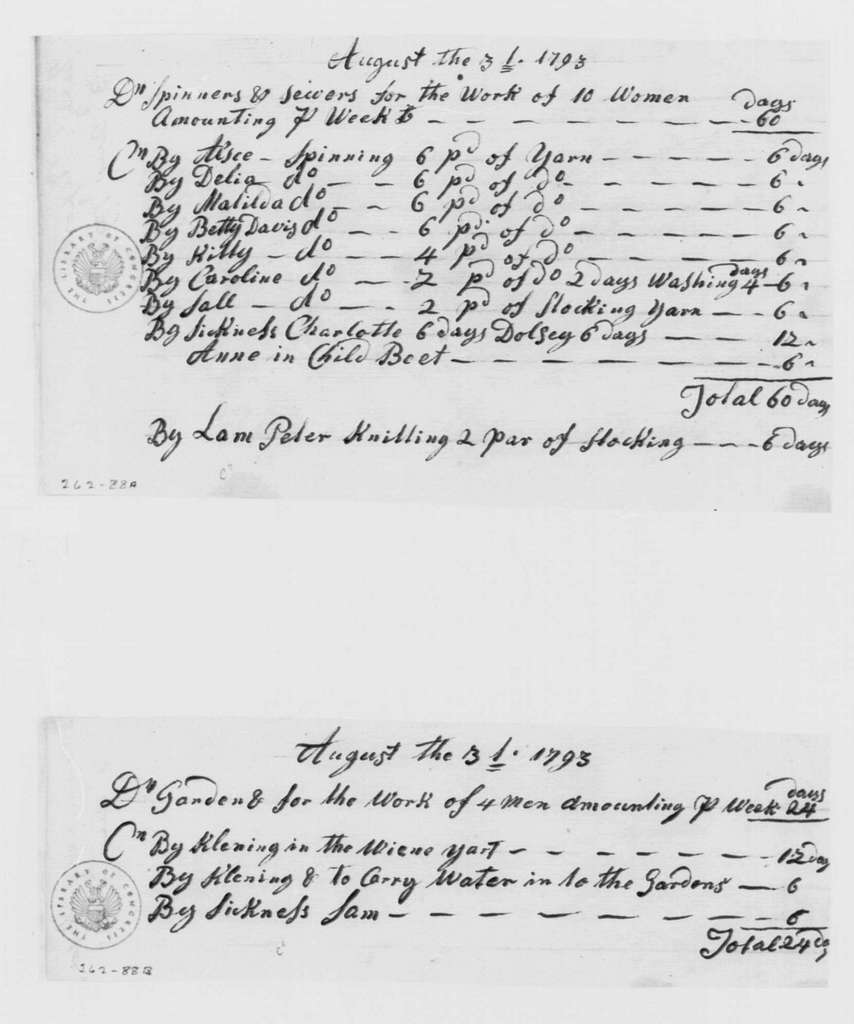 George Washington Papers, Series 4, General Correspondence: Howell Lewis, August 31, 1793, Farm Work Reports