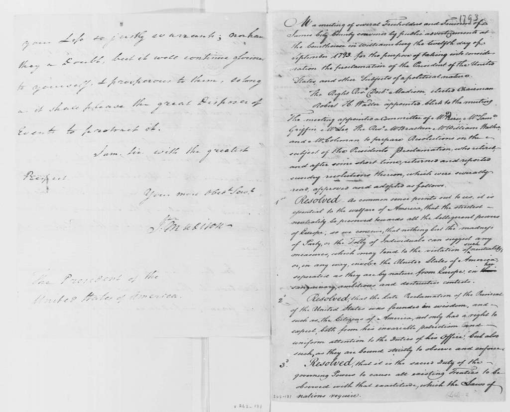George Washington Papers, Series 4, General Correspondence: James City County, Virginia, Citizens to George Washington, September 16, 1793