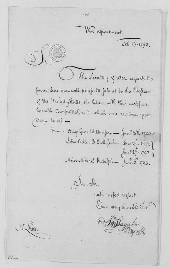 George Washington Papers, Series 4, General Correspondence: John Stagg Jr. to Tobias Lear, February 27, 1793