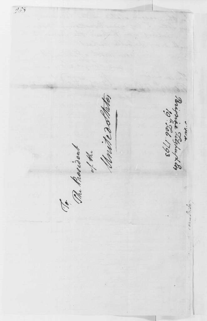 George Washington Papers, Series 4, General Correspondence: Peregrine Fitzhugh to George Washington, February 19, 1793, with Enclosures