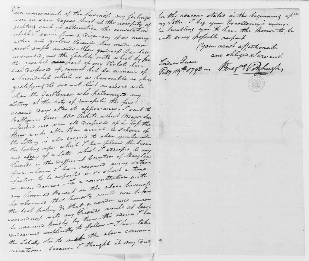 George Washington Papers, Series 4, General Correspondence: Peregrine Fitzhugh to George Washington, February 19, 1793, with Enclosures