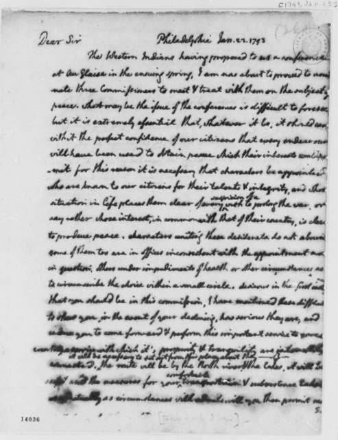 George Washington to Indian Commissioners, January 23, 1793
