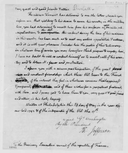 George Washington to Provisory Executive Council of France, May 24, 1793, in Thomas Jefferson's Hand