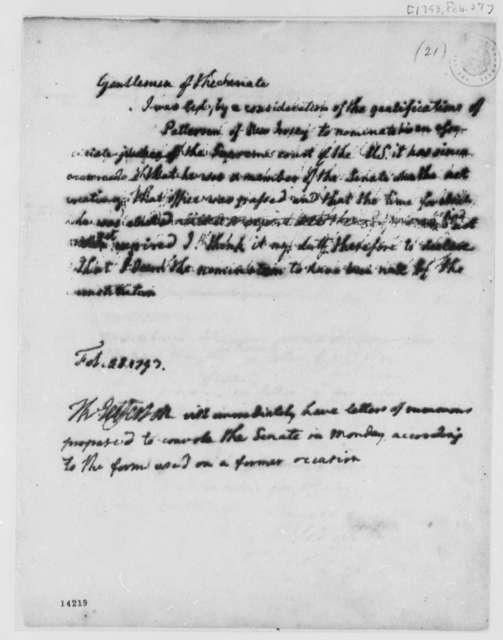 George Washington to Senate, February 27, 1793, with Note for Thomas Jefferson