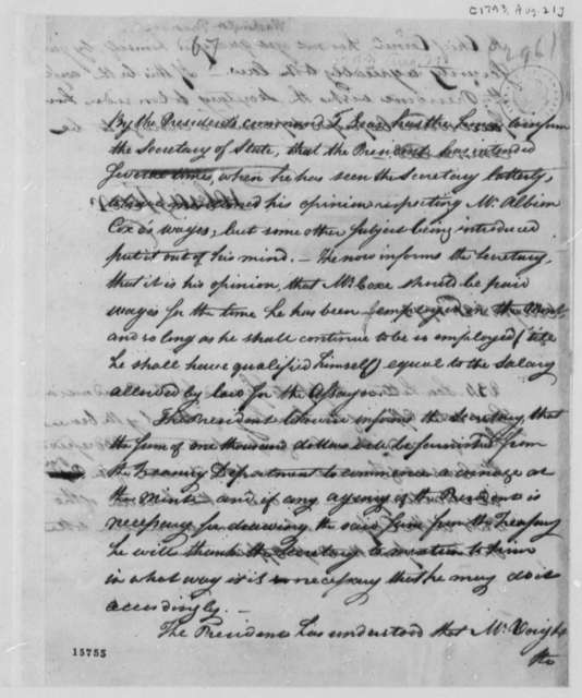George Washington to Thomas Jefferson, August 21, 1793, by Tobias Lear