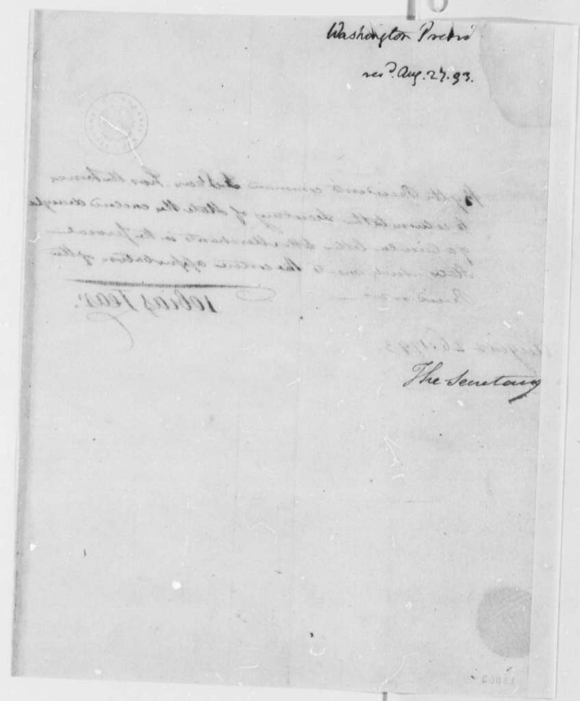 George Washington to Thomas Jefferson, August 26, 1793, by Tobias Lear