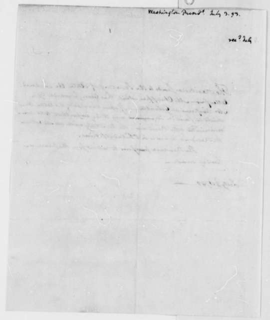 George Washington to Thomas Jefferson, July 3, 1793, by Tobias Lear