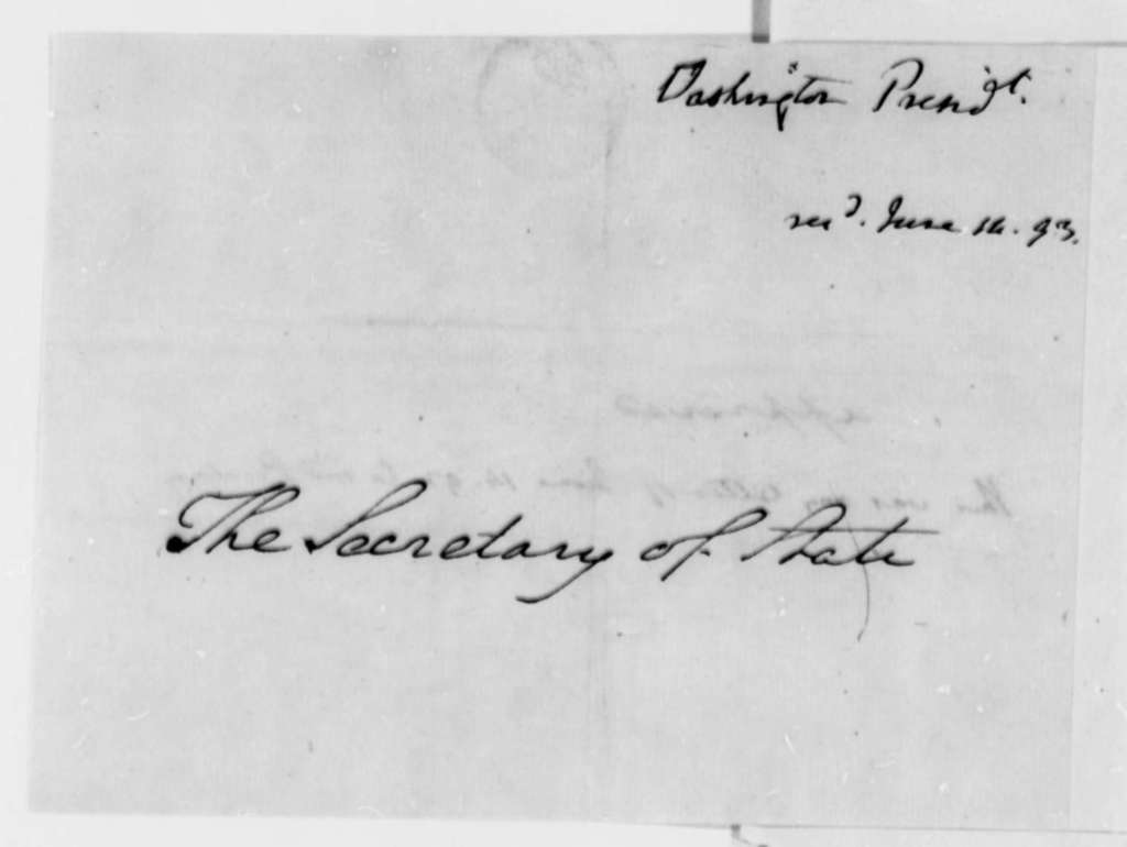 George Washington to Thomas Jefferson, June 14, 1793, Approval of Letter to Pinckney