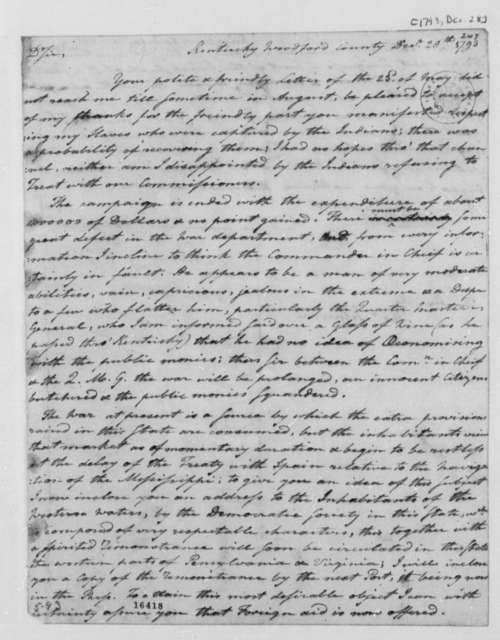 Harry Innes to Thomas Jefferson, December 28, 1793