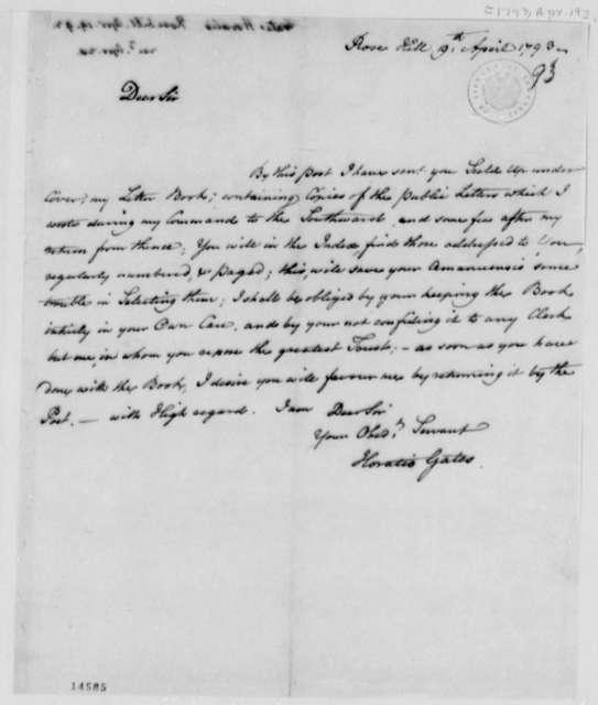 Horatio Gates to Thomas Jefferson, April 19, 1793, Letterbook Correspondence Copies Transfer