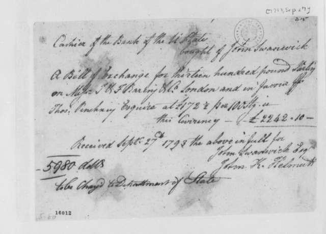 John Swanwick and John Helmutt, September 27, 1793, Bill of Receipt